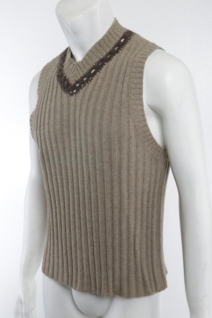 DOLCE & GABBANA Mens Sage Knit-Crochet V-Neck Sle… - image 3
