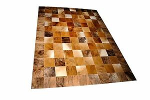 Patchwork-Teppich-aus-beige-braunem-Kuhfell-260-cm-x-200-cm-RUG-NEU