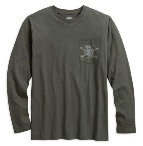 Olive 96442-18VM Harley-Davidson Mens HDMC Arrow Slim Fit Long Sleeve Tee Shirt