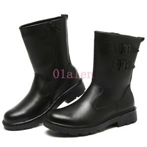 Winter-Round-Mens-Leather-Warm-Fur-Lining-Mid-Calf-Ankle-Snow-Boots-Waterproof