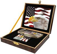 Eagle Head Usa Flag Pocket Knife In Display Box With Oil Lighter Stainless 479