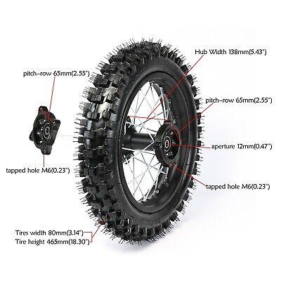 12mm REAR 80//100-12 3.00-12 TIRE RIM 1.85x12 WHEEL DIRT Pit Bike SSR125 PW80 CRF