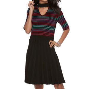 f52d69d0640 Details about New Candie s Juniors  Sweater Striped Choker Skater Dress  Black Medium MSRP  58