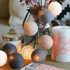 20 LED COTTON BALL FAIRY LED STRING LIGHTS PARTY PATIO WEDDING Christmas DECOR