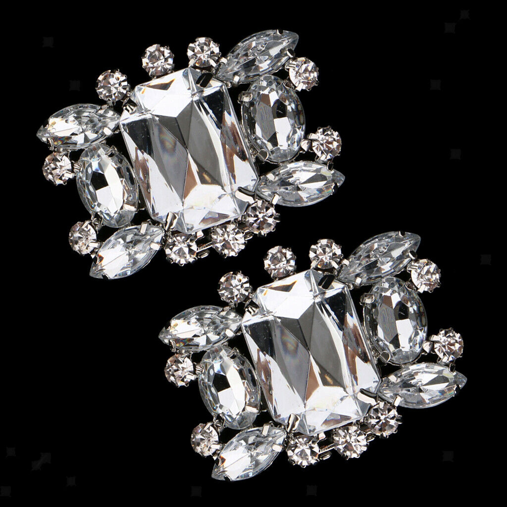 Pack of 2 Crystal Rhinestone Shoes Clips Buckle Bridal Wedding Charms