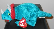 CT* Ty Beanie Baby ~ HORNSLY the Triceratops Dinosaur ~ MINT with CREASED TAG