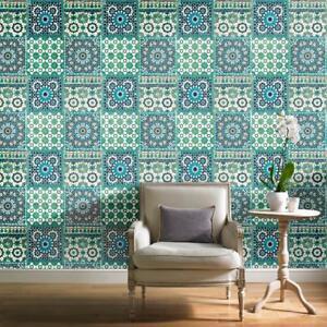 Détails sur Bleu Sarcelle Vert Carrelage Papier Peint marocain BOTANIQUE  méditerranéen rétro vintage- afficher le titre d\'origine