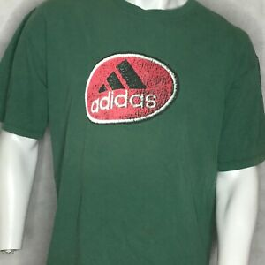 Vintage-Adidas-Tri-Foil-Logo-TShirt-Sz-L-Spellout-Distressed-USA-Made-Green-Tee