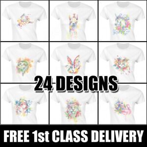 Watercolour Animal Print T Shirts Womens Fitted Classic White Graphic Tees Uk Ebay
