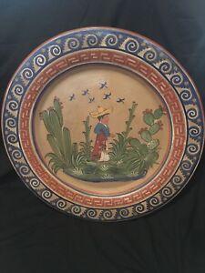 Image is loading Pottery-Spanish-Man-Decorative-Wall-Hanging-Plate-Hand- & Pottery Spanish Man Decorative Wall Hanging Plate Hand Painted   eBay