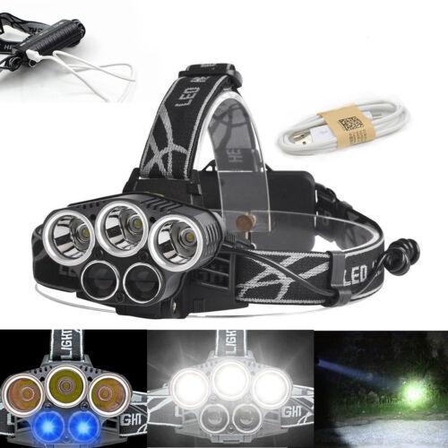 150000Lumens Tactical  T6 Headlamp Headlight Lamp 18650 USB Rechargeable Head