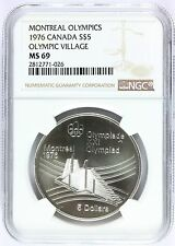 1976 Canada Montreal Olympics Olympic Village Silver $5 Coin NGC MS 69 - KM# 109