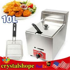 10l Propane Gas Deep Fryer One Tank Stainless Steel Single Fry Basket Commercial