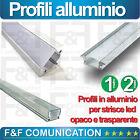 PROFILO ALLUMINIO 1 METRO 2 METRI STRISCIA LED + COVER e KIT FISSAGGIO ANGOLARE