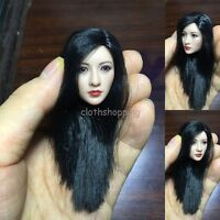 "1/6 Scale Asian Long Black Hair Head Sculpt For 12"" Female Body Figure Hot Toys"