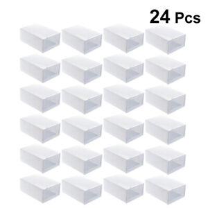 6/12/24x Boîte à Chaussures Plastique Housse Tiroir Stockage Empilable Rangement