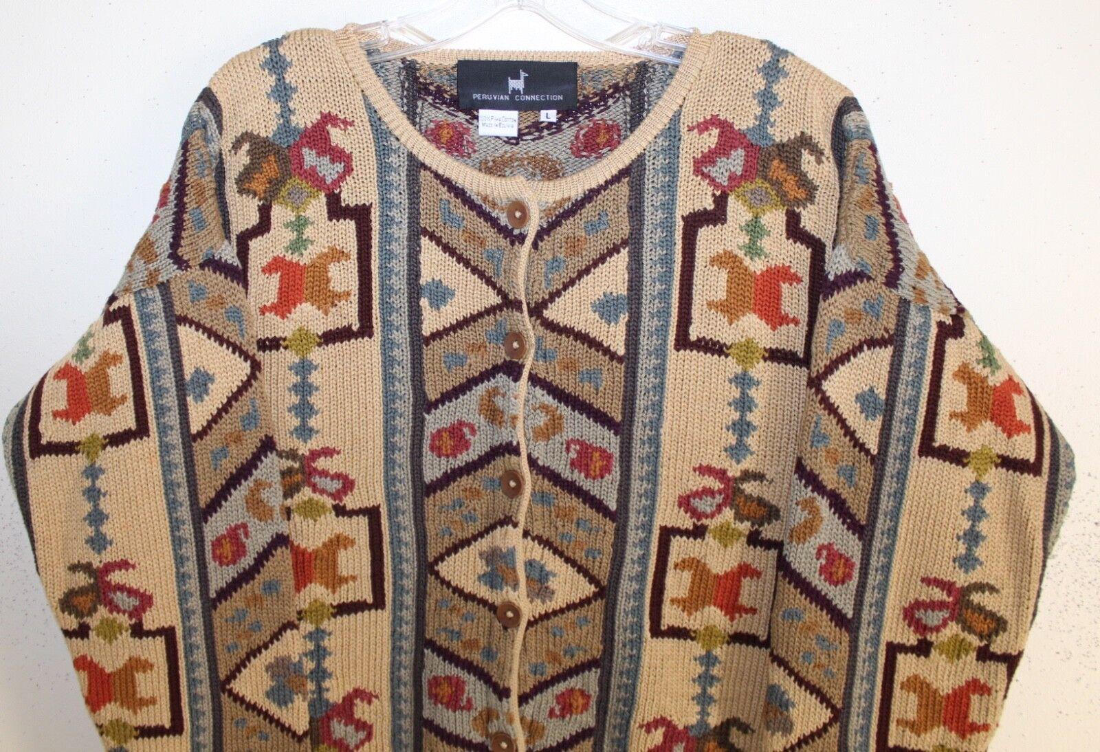 Peruvian Peruvian Peruvian Connection Sz L or M Fine Funky Ethnic Art-to-Wear Cardigan Sweater 57e295