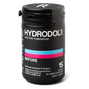 Hydrodol Before 15 Doses (30 Caps) Hangovers Tiredness Fatigue Relief BioRevive