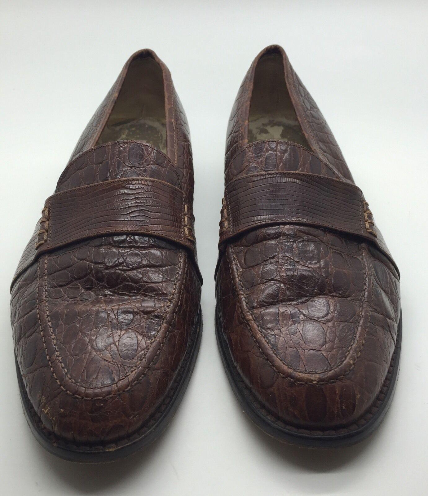 GRUPPO ITALIANO Brown Crocodile Skin Classic Penny Loafers Men's 7.5C ITALY Nice