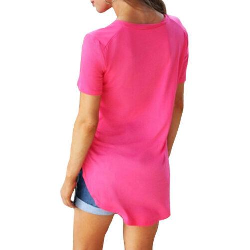 Womens Ladies V Neck Long Line Blouse Short Sleeve Loose T Shirt Tunic Tops 8-24