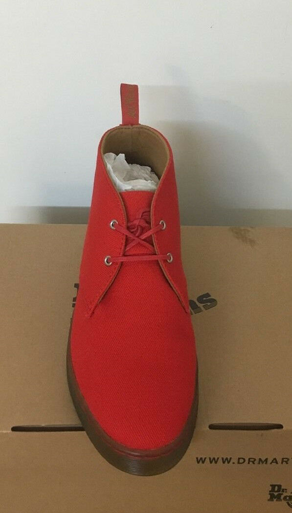 DR. MARTENS DAYTONA RED OVERDYED TWILL CANVAS 8  BOOTS SIZE UK 8 CANVAS 6a8d55