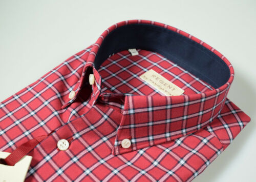 Camicia in Flanella Pancaldi collo button down Bordeaux a quadri Regular Fit