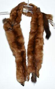 Vintage-1940s-Schlampp-Furs-3-Brown-Mink-Full-Body-Pelts-Wrap-Stole-Crochet-Snap
