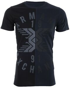 Armani-Exchange-SPLIT-UP-Mens-Designer-T-SHIRT-Premium-BLACK-Slim-Fit-45-NWT