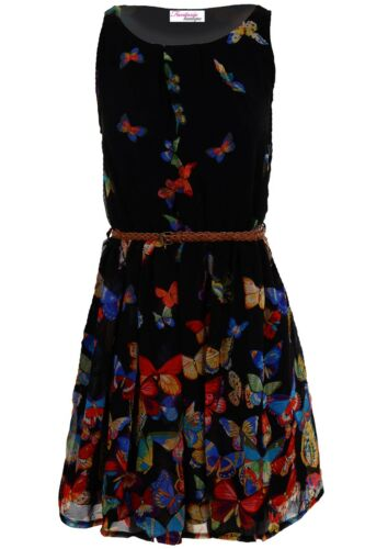 Women/'s Chiffon Belted Butterfly Floral Print Ladies Lined Mini Skater Dress