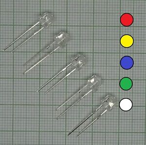 E224 50 Led Sortiment 5mm Kurzkopf, rot, blau, gelb, grün, weiß+ Widerstand
