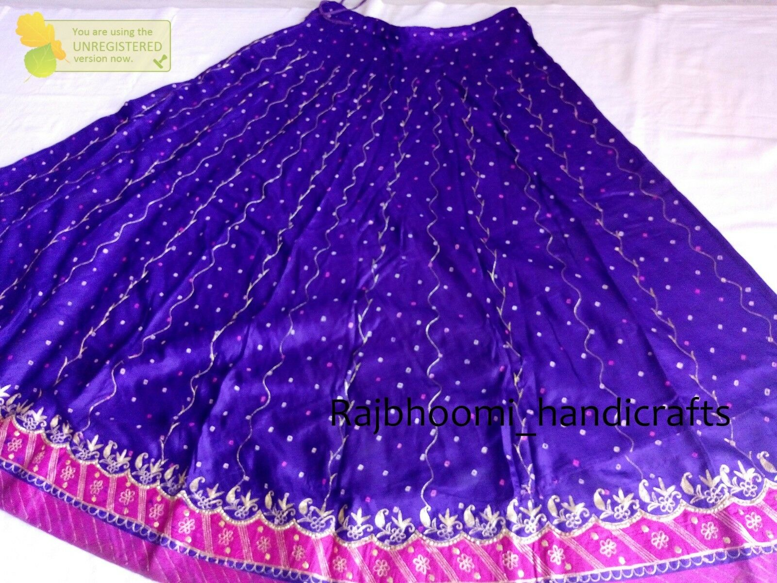 Indian Vintage Bhandani Stitched purple color Lehnga Zari Hand Beaded Long Skirt