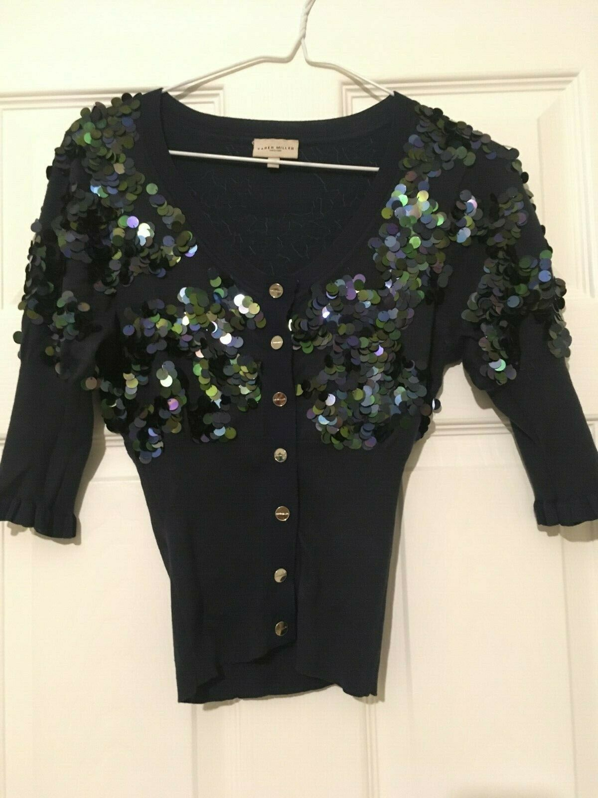 Karen Millen bluee Sequinned silk cardigan Size 1