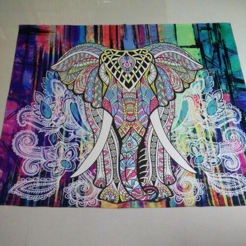 Indisch Boho Elefant Mandala Tapisserie Wandteppich Wandbehang Strandtuch Matte