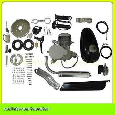 Silver Motorized Bike Petrol Gas Bicycle Engine 49 50cc 2 Stroke Cycle Motor Kit