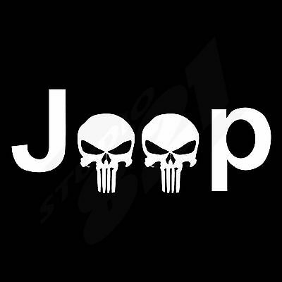 Window JEEP Punisher Skull Body Decal Bumper Sticker 3 SIZES Off Road 4x4