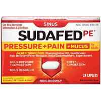 Sudafed Pe Pressure + Pain + Mucus Non-drowsy Caplets For Adults 24 Ea (7 Pack)