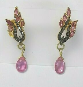 Pink-Turmalin-und-Diamanten-Ohrstecker-925-Silber-Gelbgold