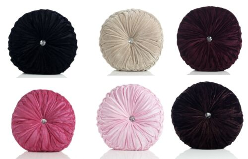 Round Filled Faux Velvet Cushion With Diamante Centre Detail,Assorted Colours