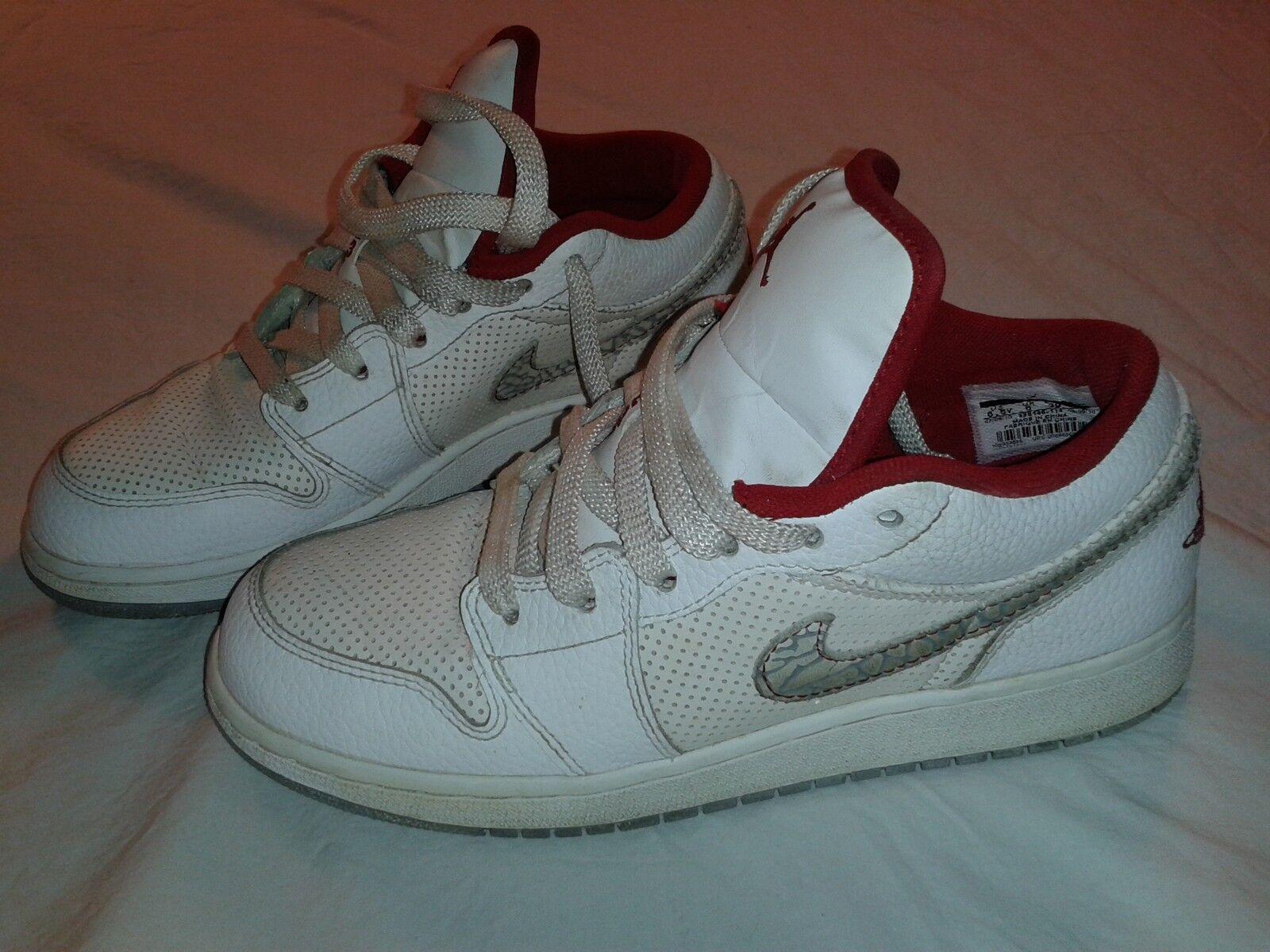 Nike Air Jordan 1 Phat Low Youth 6.5 Y White Red Cement