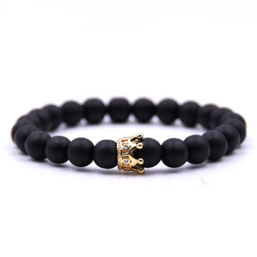 Couple Bracelet Charm Natural Stone Beads Jewelry Crown Bracelets For Men Women