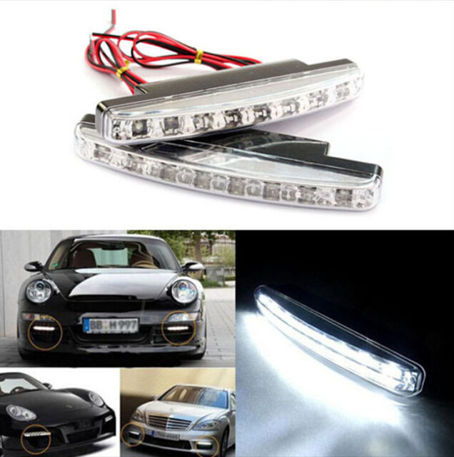 BUA 2 pcs Car Daytime Running Light 8 LED DRL Daylight Kit Super White Head Lamp