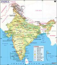 "Map of India (Wall Map) 36"" x 40.75"" Laminated"