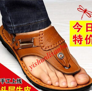 7a5802453 men s Beach breathable summer PU leather thongs new Clip Toe sandals ...