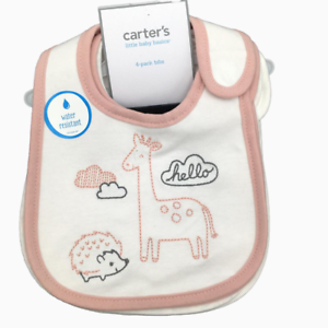 New Carter/'s Baby Girls 4 Pack Bibs Set Printed Cotton Pink
