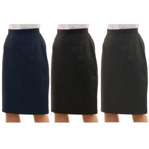 Womens-Plain-Formal-Pencil-Skirt-Office-Work-Zip-Straight-Cut-Sizes-8-14-New-UK