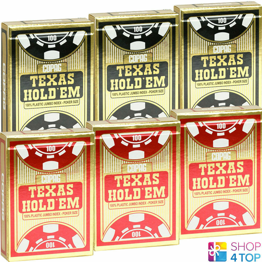 6 DECKS COPAG TEXAS HOLD'EM JUMBO JUMBO JUMBO INDEX Gold SPIELKARTEN POKER 3 ROT 3 SCHWARZ bb059b