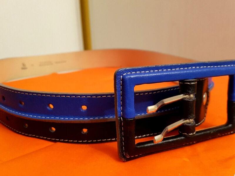 Gü31-neu Echt Leder Royal Blau Schwarz 4 Cm Breit 102 Cm Lang Damen Gürtel Bouti Reine WeißE