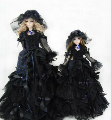 New Black Lace with Royal Blue Polka Dot Dress Doll Skirts For Bjd 1//3 Doll