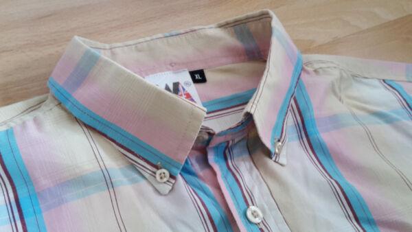 * Classic Button Down Shirt * Rosa Blue Red Yellow Check * Warrior Uk * Xl * Buono Per Succhietto Antipiretico E Per La Gola