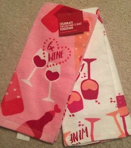 Celebrate-Valentine-039-s-Day-Together-Kitchen-Towels-034-Be-Wine-034-2-Pk-Red-White-Pink